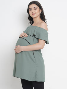 Mine4Nine - Top - Dark Sea Green Regular Fit Maternity Top Made of Synthetic