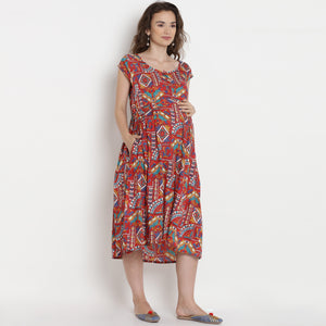 Reddish-Brown Midi Maternity Dress w/ Paisley Patterns, Made of Rayon- Mine4Nine