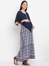 Load image into Gallery viewer, Lumiere Indigo Maxi Maternity Dress w/ a Wavy Print Made of Rayon- Mine4Nine