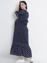 Load image into Gallery viewer, Mine4Nine Women's Navy Blue Maxi Georgette Maternity Dress