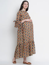 Load image into Gallery viewer, Multicolor A-Line Maternity Dress w/ Geometric Pattern, Made of Georgette & Lycra