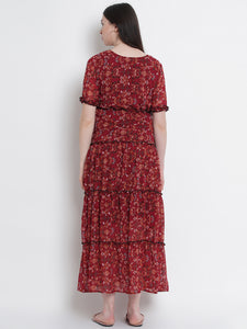 Fire Brick Red A-Line Maternity Dress w/ Floral Pattern, Made of Georgette & Lycra