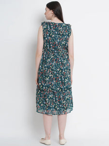 Pine Green Fit & Flare Maternity Dress w/ Floral Pattern, Made of Chiffon & Lycra