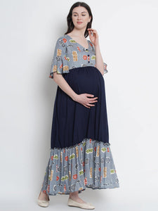 Navy Blue A-Line Maxi Maternity Dress Made of Rayon
