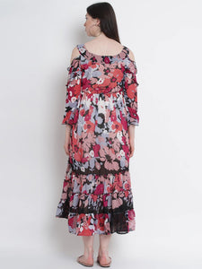 Multicolor A-Line Maternity Dress w/ Floral Pattern, Made of Georgette & Lycra