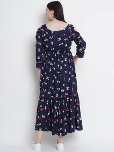 Mine4Nine Women's Navy Fit & Flare Rayon Maternity Dress