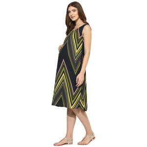Black A-line Maternity Dress w/ Green Geometric Design, Made of Crepe- Mine4Nine