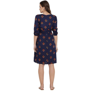 Midnight Blue A-Line Maternity Dress w/ Floral Print, Made of Rayon- Mine4Nine