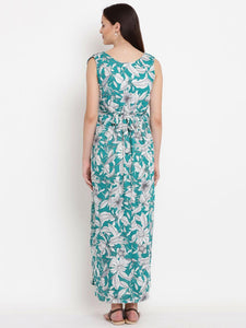 Dark Cyan Maxi Maternity Dress w/ Floral Pattern, Made of Rayon- Mine4Nine
