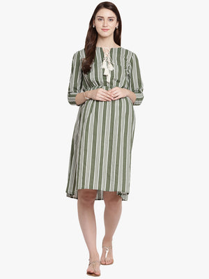 Dark Olive Green A-line Maternity Dress w/ Striped Pattern Made of Rayon- Mine4Nine