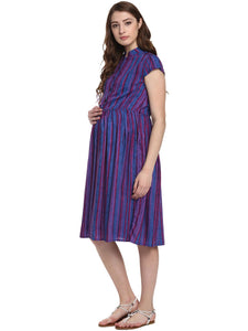 Blueish-Purple Skater Maternity Dress w/ Striped Pattern, Made of Rayon- Mine4Nine