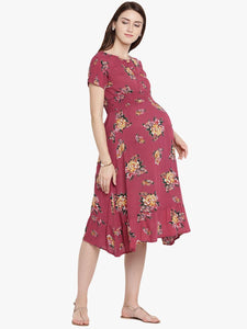 Fire Brick Red A-line Maternity Dress w/ Floral Pattern Made of Rayon- Mine4Nine