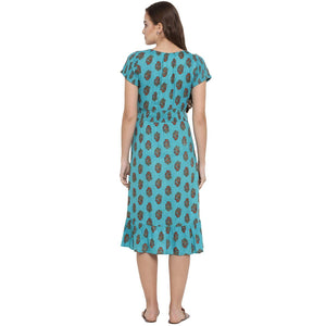 Light Sea Green A-line Maternity Dress w/ Floral Print Made of Rayon- Mine4Nine