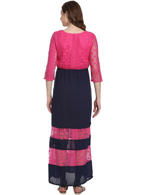 Mine4Nine - Dress - Pink and Blue Maxi Maternity Dress Made of Lace