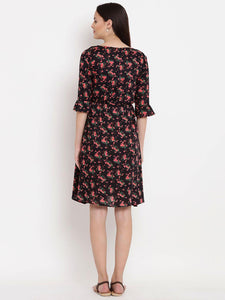 Black A-line Maternity Dress w/ Floral Pattern, Made of Rayon- Mine4Nine