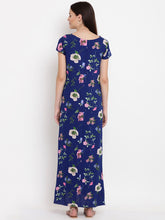 Load image into Gallery viewer, Navy A-line Maternity Dress w/ Floral Patterns Made of Rayon- Mine4Nine