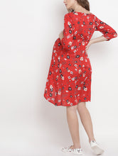 Load image into Gallery viewer, Crimson A-line Maternity Dress w/ Floral Pattern Made of Rayon- Mine4Nine
