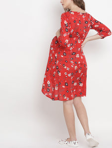 Crimson A-line Maternity Dress w/ Floral Pattern Made of Rayon- Mine4Nine