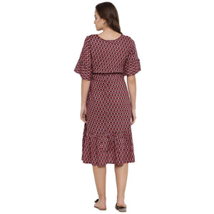 Brown A-line Maternity Dress w/ Floral Print, Made of Rayon- Mine4Nine