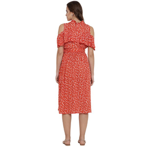 Reddish-Orange A-line Maternity Dress w/ Floral Pattern Made of Rayon- Mine4Nine