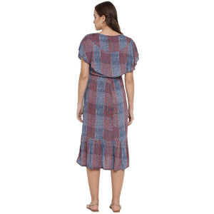 Dark Slate Blue A-line Maternity Dress w/ Striped Pattern Made of Rayon- Mine4Nine