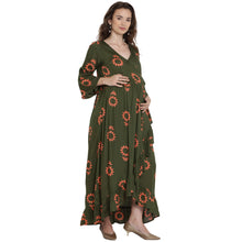 Load image into Gallery viewer, Dark Olive Green Wrap Maternity Dress w/ Floral Pattern, Made of Rayon- Mine4Nine