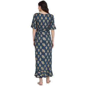 Teal Wrap Maternity Dress w/ Leaf Pattern Made of Rayon- Mine4Nine