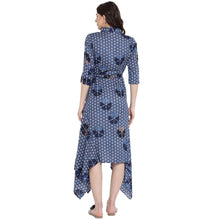 Load image into Gallery viewer, Midnight Blue Asymmetric Maternity Dress w/ a Geometric Design, Made of Rayon- Mine4Nine