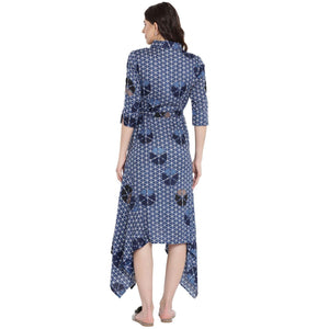 Midnight Blue Asymmetric Maternity Dress w/ a Geometric Design, Made of Rayon- Mine4Nine