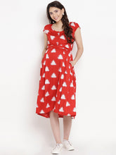 Load image into Gallery viewer, Firebrick Red Fit & Flare Maternity Dress Made of  Rayon- Mine4Nine