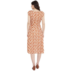 Cornsilk Fit & Flare Maternity Dress w/ Geometric Design, Made of Rayon- Mine4Nine