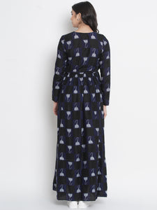 Mine4Nine - Dress - Space Blue Wrap Maxi Maternity Dress w/ Traditional Print Made of Rayon