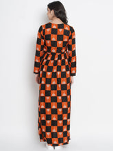 Load image into Gallery viewer, Mine4Nine - Dress - Black & Tomato Wrap Maxi Maternity Dress w/ Traditional Print, Made of Rayon