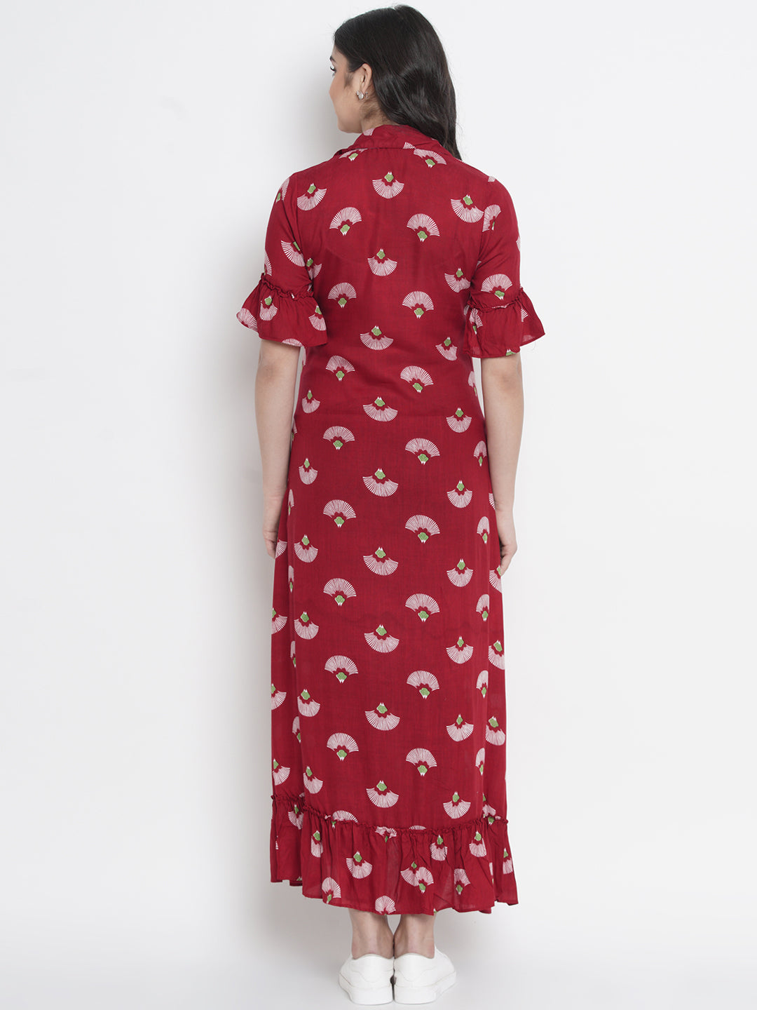Mine4Nine - Dress - Cherry Red A-Line Maxi Maternity Dress w/ Traditional Print, Made of Rayon