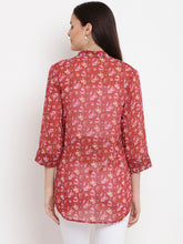 Load image into Gallery viewer, Fire Brick Red Regular Fit Maternity Top w/ Floral Pattern, Made of Georgette- Mine4Nine
