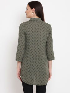 Dark Olive Green Regular Fit Maternity Top w/ Geometric Pattern, Made of Rayon- Mine4Nine