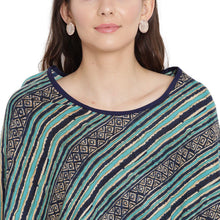 Load image into Gallery viewer, Purist Blue Kaftan Maternity Top w/ Striped Pattern Made of Rayon- Mine4Nine