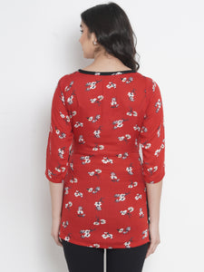 Mine4Nine - Top - Fire Brick Red Regular Fit Maternity Top w/ Floral Print, Made Of Rayon