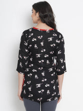Load image into Gallery viewer, Mine4Nine - Top - Black Regular Fit Maternity Top w/ Floral Print, Made of Rayon