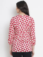 Load image into Gallery viewer, Mine4Nine - Top - Fuchsia Pink & White Regular Fit Maternity Top w/ Geometric Print, Made of Rayon