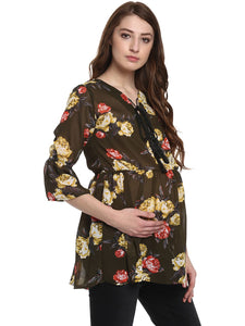 Olive Drop Waist Maternity Top Made of Georgette