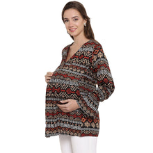 Load image into Gallery viewer, Multicolor Drop Waist Maternity Top w/ Geometric Pattern Made of Rayon- Mine4Nine