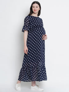 Mine4Nine Women's Navy Blue Maxi Georgette Maternity Dress