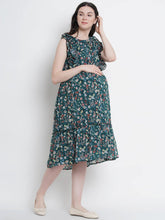 Load image into Gallery viewer, Pine Green Fit & Flare Maternity Dress w/ Floral Pattern, Made of Chiffon & Lycra