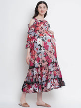 Load image into Gallery viewer, Multicolor A-Line Maternity Dress w/ Floral Pattern, Made of Georgette & Lycra