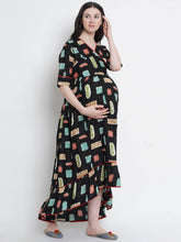 Load image into Gallery viewer, Mine4Nine Women's Black A-Line Rayon Maternity Dress