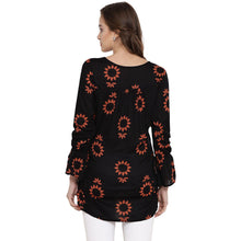 Load image into Gallery viewer, Black Drop Waist Maternity Top w/ Floral Pattern Made of Rayon- Mine4Nine
