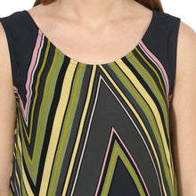 Load image into Gallery viewer, Black A-line Maternity Dress w/ Green Geometric Design, Made of Crepe- Mine4Nine
