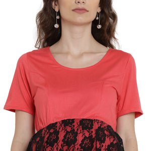 Tomato A-line Maternity Dress Made of Lycra- Mine4Nine