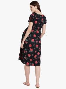 Black Midi Maternity Dress w/ Floral Pattern, Made of Rayon- Mine4Nine